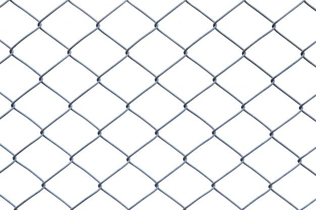 Clôture ou cage en métal sur fond blanc avec un tracé de détourage Photo Premium