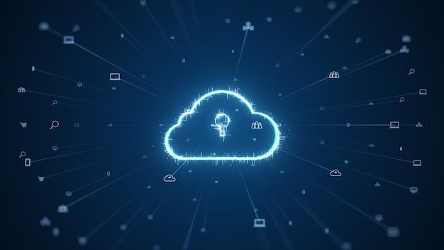 Cloud Computing Et Concept De Données Volumineuses. Connectivité 5g Des Données Numériques Et Des Informations Futuristes. Internet Haute Vitesse Abstrait Des Objets Iot Big Data Cloud Computing. Photo Premium