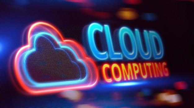 Cloud computing sur écran led. Photo Premium