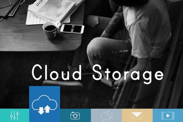 Cloud computing storage chargement Photo Premium