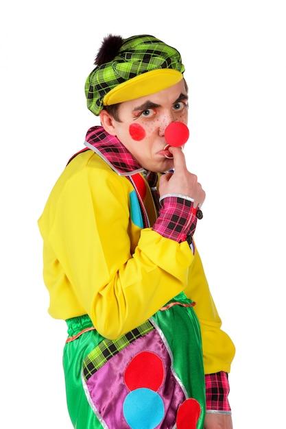 Clown drôle isolé sur fond blanc Photo Premium