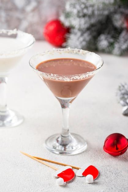 Cocktail martini flocon de neige chocolat noel Photo Premium