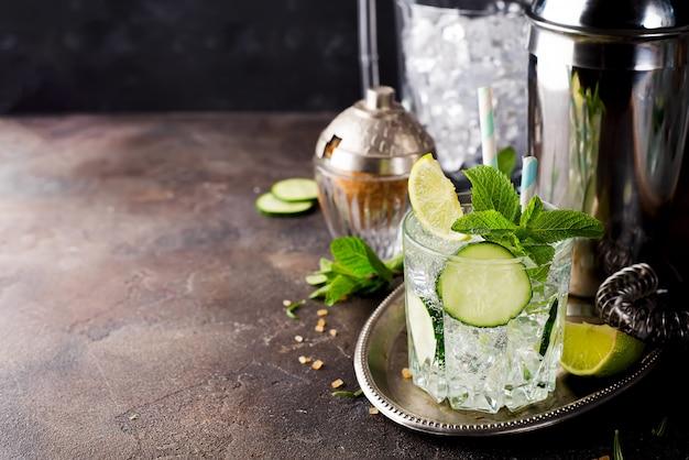 Cocktail rafraîchissant de gin spritz au concombre, citron vert et menthe Photo Premium