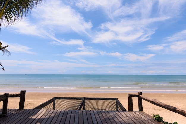Cocotiers contre le ciel bleu. palmiers sur la côte tropicale. Photo Premium