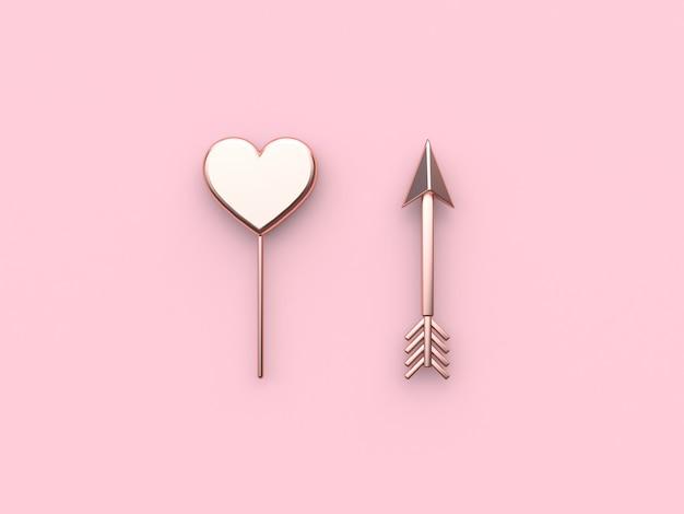Coeur abstrait métallique rose flèche fond rose saint-valentin. rendu 3d Photo Premium