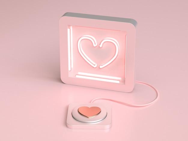 Coeur abstrait néon et bouton amour saint valentin concept rendu 3d Photo Premium