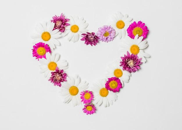 Coeur décoratif de fleurs lumineuses Photo gratuit