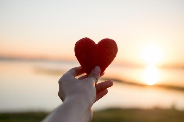 Le coeur fait avec la main et le soleil est la toile de fond. Photo Premium