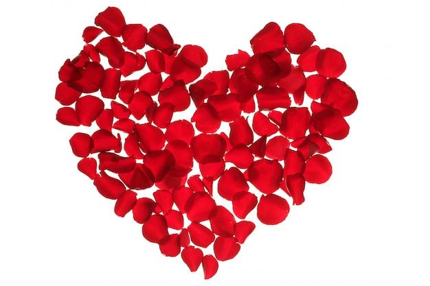 Coeur de pétales rouges, métaphore de fleurs de la saint-valentin Photo Premium
