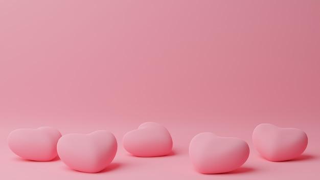 Coeur Rose Au Sol Avec Table Rose. Concept De La Saint-valentin. Illustration De Rendu 3d. Photo Premium