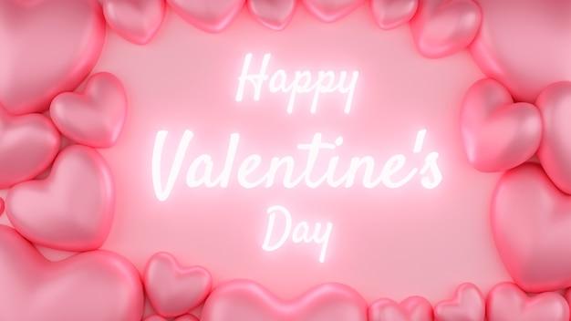 Coeur Rose Avec Fond Rose Et Texte. Concept De La Saint-valentin. Illustration De Rendu 3d. Photo Premium