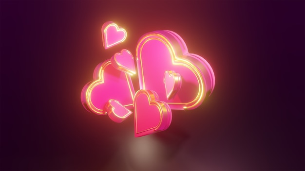 Coeur Rose Et Or 3d Brillant Sur Fond Sombre Pour Les éléments De Conception De La Saint-valentin Photo Premium