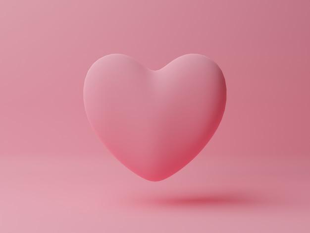 Coeur Rose Avec Table Rose. Concept De La Saint-valentin. Illustration De Rendu 3d. Photo Premium