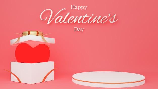 Coeur Rouge Dans Une Boîte Cadeau Blanche Ouverte Avec Ruban Rouge Avec Podium De Cercle Et Texte. Concept De La Saint-valentin. Photo Premium