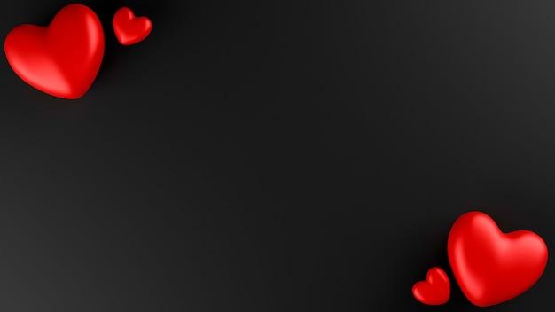 Coeur Rouge Avec Fond Noir. Concept De La Saint-valentin. Illustration De Rendu 3d. Photo Premium