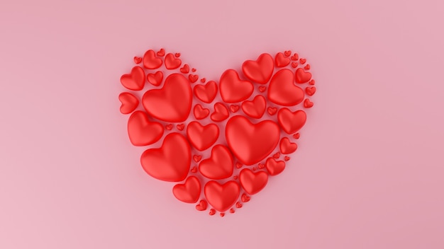 Coeur Rouge Avec Fond Rose. Concept De La Saint-valentin. Illustration De Rendu 3d. Photo Premium