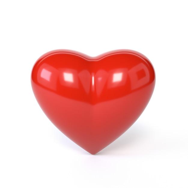 Coeur rouge isolé sur fond blanc. le symbole de la romance, la saint-valentin. illustration 3d Photo Premium