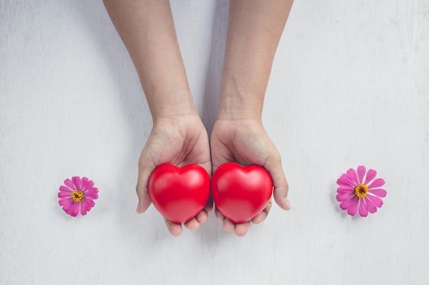 Coeur rouge sur la main de la fille Photo Premium
