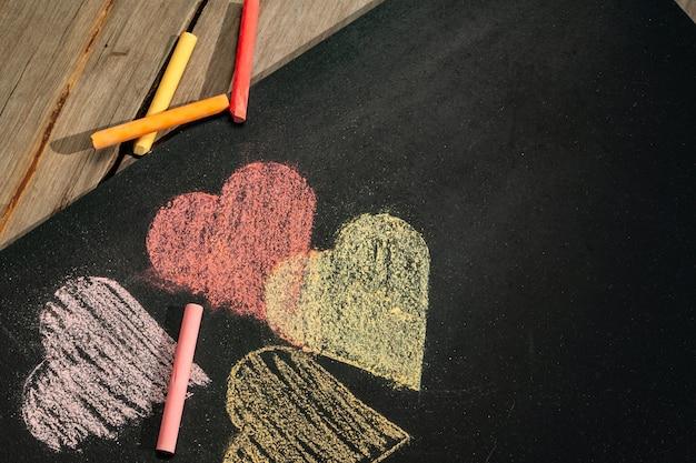 Coeurs et craies Photo Premium