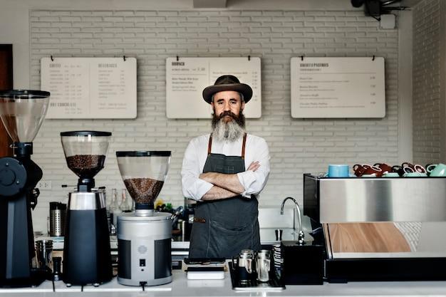 Coffee cafe professional steam uniform appliance concept Photo Premium