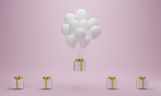 Coffret Cadeau Avec Ballon Blanc Flottant Sur Fond Rose. Concept Minimal. Rendu 3d Photo Premium