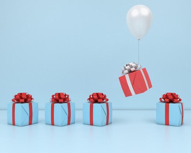Coffret cadeau fly in air ballon blanc et ruban rouge fond rose rendu 3d pastel Photo Premium
