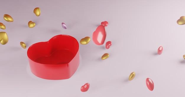 Coffret Explosion Heart., Valentine., Rendu 3d Photo Premium