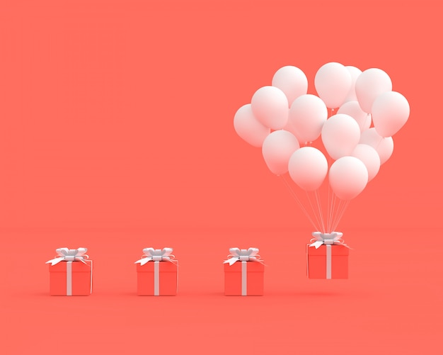Coffret Rose Avec Ballon Sur Fond Rose Photo Premium