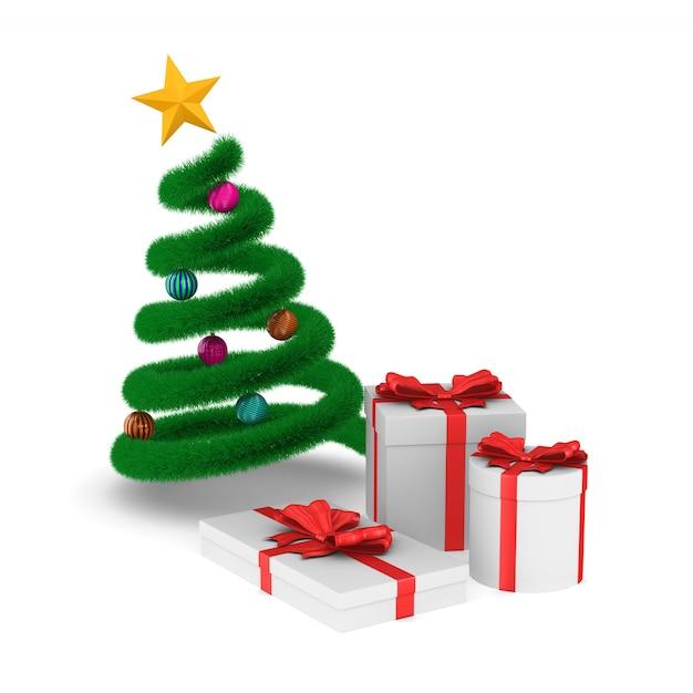 Coffrets Cadeaux Et Arbre De Noël Sur Un Espace Blanc. Illustration 3d Isolée Photo Premium