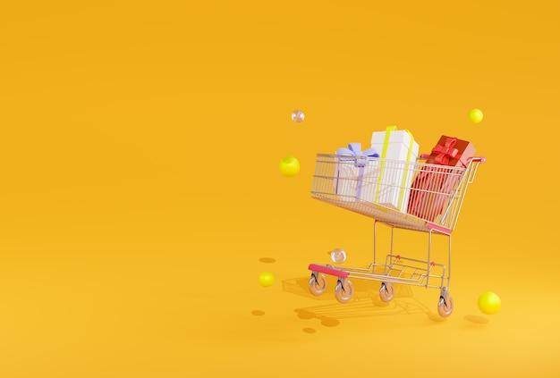 Coffrets Cadeaux Arbre De Rendu 3d Dans Le Panier Sur Jaune Photo Premium