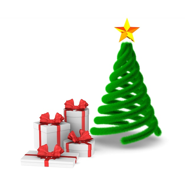 Coffrets Cadeaux Avec Arc Rouge Et Arbre De Noël. Rendu 3d Isolé Photo Premium