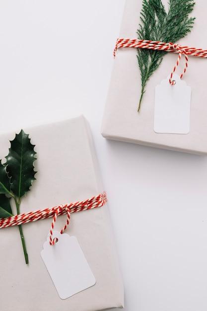 Coffrets cadeaux avec des plantes vertes Photo gratuit