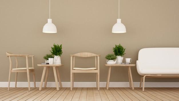 Coin repas dans un café ou un restaurant - rendu 3d Photo Premium