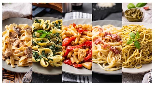 Collage avec différents plats de pâtes. Photo Premium