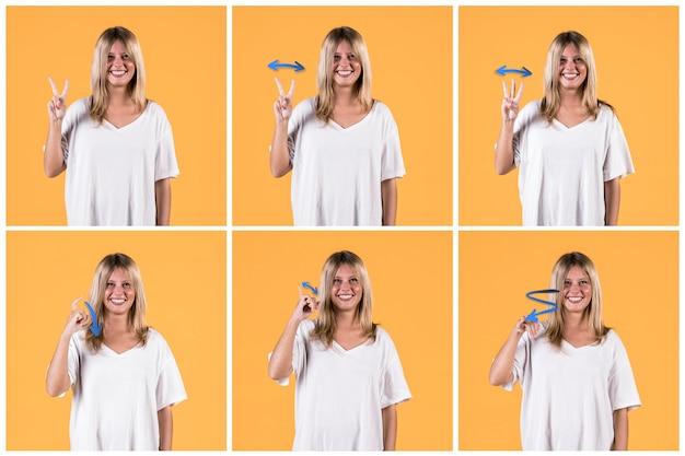 Collage, de, jeune femme, gestes, sourd, signe Photo gratuit