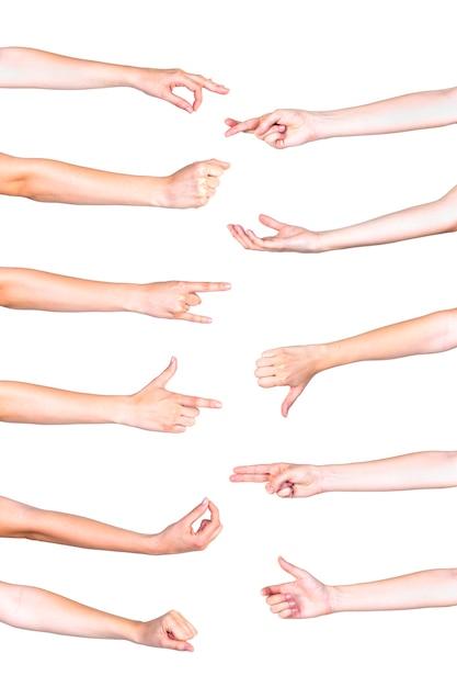 Collage de mains humaines, gesticulant sur fond blanc Photo gratuit