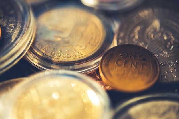 Collection américaine de pièces de monnaie âgées Photo gratuit