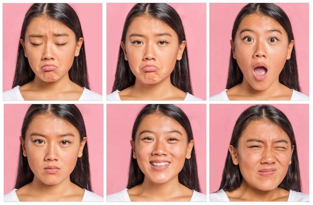 Collection d'émotions et d'expressions faciales Photo gratuit