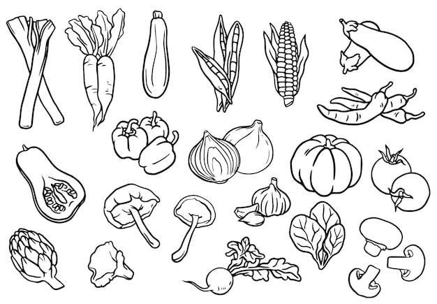 Collection De Légumes Noirs Et Blancs Photo gratuit