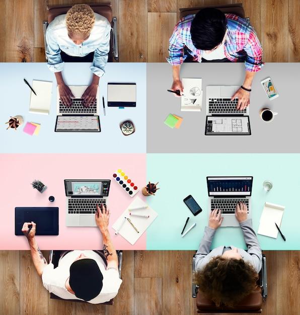 Collègues occupé concept de bureau d'ordinateur portable de travail Photo Premium