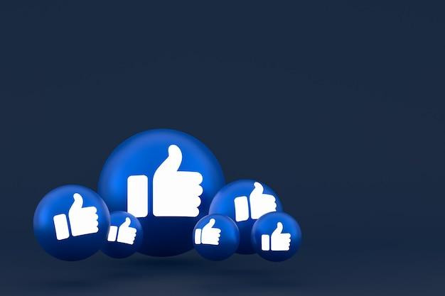 Comme L'icône Facebook Réactions Emoji Rendent, Symbole De Ballon De Médias Sociaux Sur Fond Bleu Photo Premium