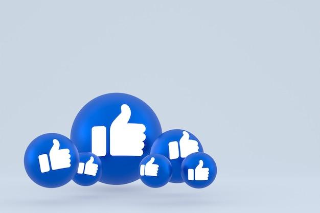Comme L'icône Facebook Réactions Emoji Rendent, Symbole De Ballon De Médias Sociaux Sur Fond Gris Photo Premium
