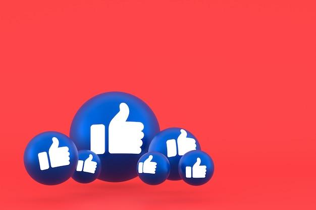 Comme L'icône Facebook Réactions Emoji Rendent, Symbole De Ballon De Médias Sociaux Sur Fond Rouge Photo Premium