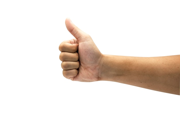 Comme signe de geste de la main et abandonnant le pouce. isolé sur fond blanc Photo Premium