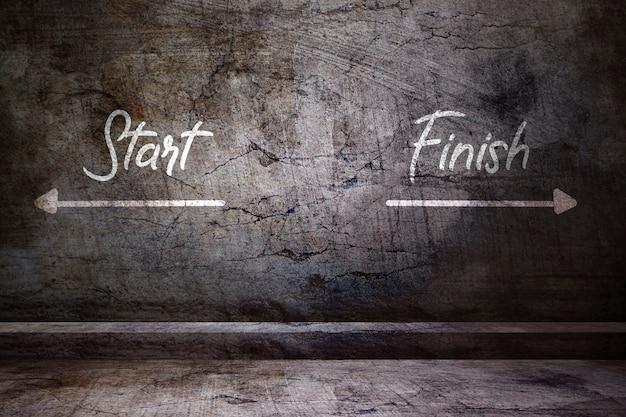 Commencer et finir sur un mur bétonné Photo Premium