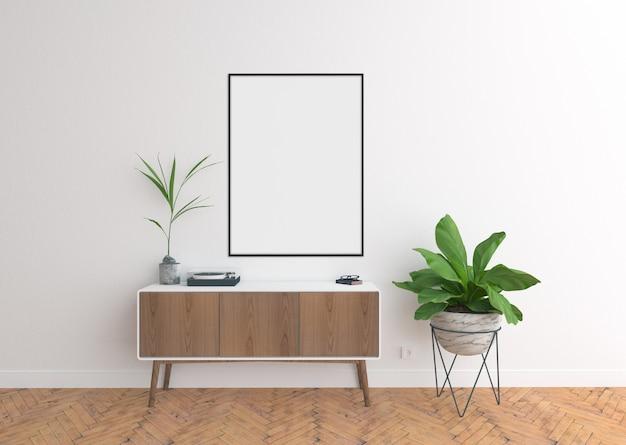 Commode scène avec cadre vertical vide et cadre Photo Premium