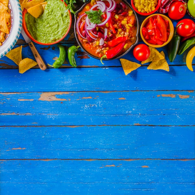 Composition alimentaire mexicaine avec copie Photo gratuit