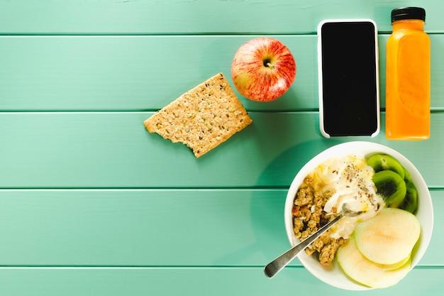 Composition D'aliments Sains Avec Surface Photo gratuit