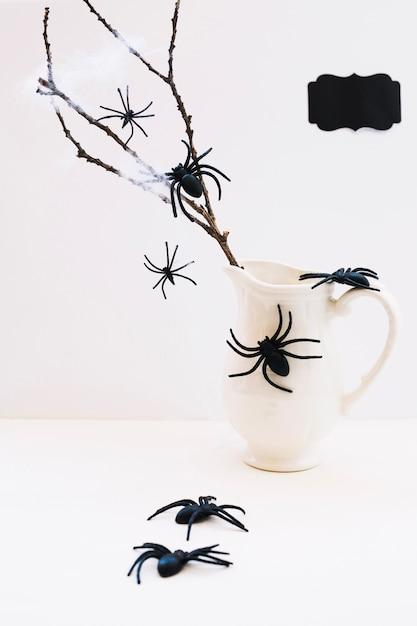 Composition d'araignées et de cruche avec branche Photo gratuit