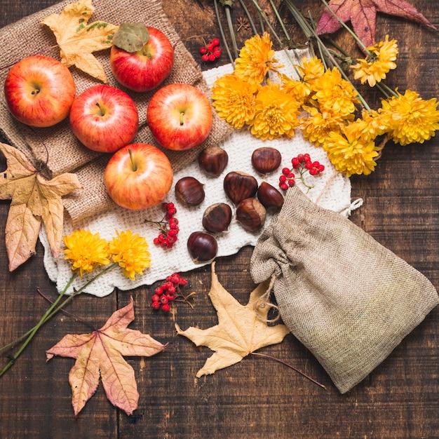 Composition d'automne coloré vue de dessus Photo gratuit